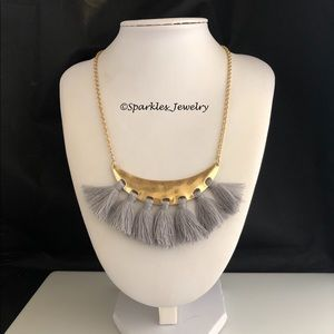 Plunder LETICIA Necklace Gold Crescent Gray Tassel